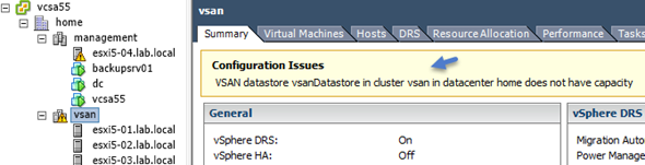 vsan datastore in cluster does not have capacity