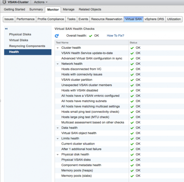 VMware VSAN 6.0 Health Screen