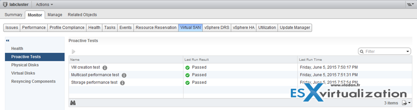 VSAN health check plugin proactive tests
