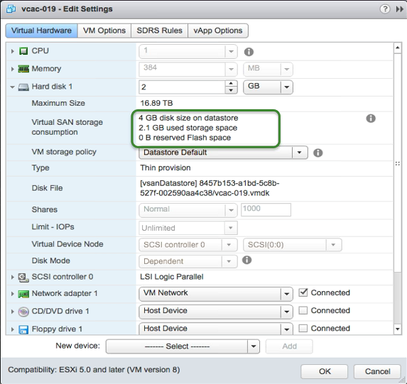 Utilization of VSAN resources from the VM's UI perspective