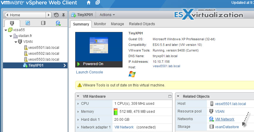 XP VM running on the top of Nested ESXi 5.5