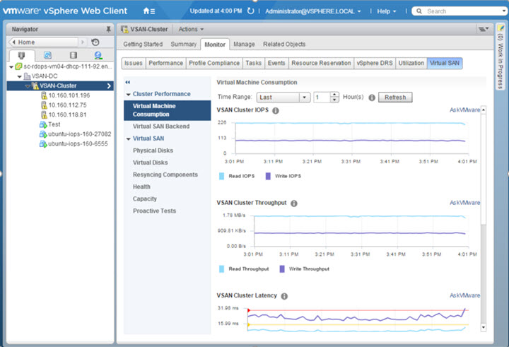 VMware VSAN 6.2 Performance and capacity monitoring