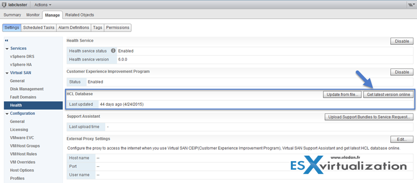 Check Latest HCL VMware through VSAN health check plugin