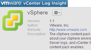 vCenter Log Insight - vSphere content pack