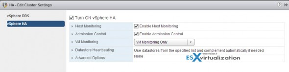 How to configure VMware vSphere High Availability (HA) cluster
