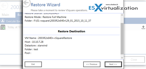 vSquare Backup for VMware - how to restore a VM