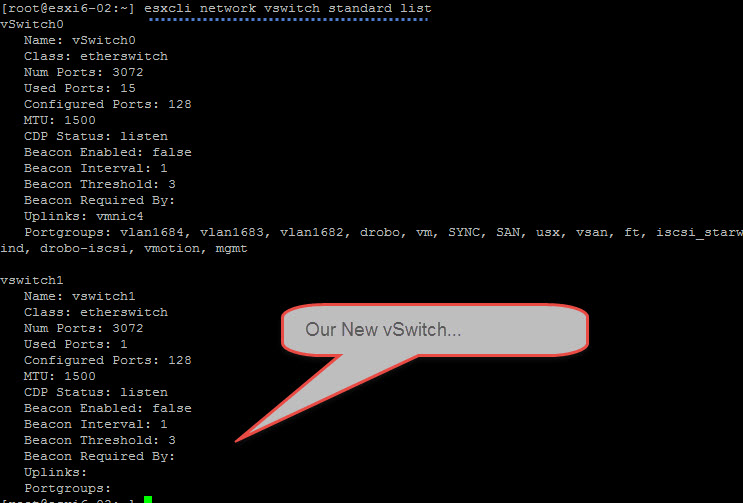 esxcli network vswitch standard list
