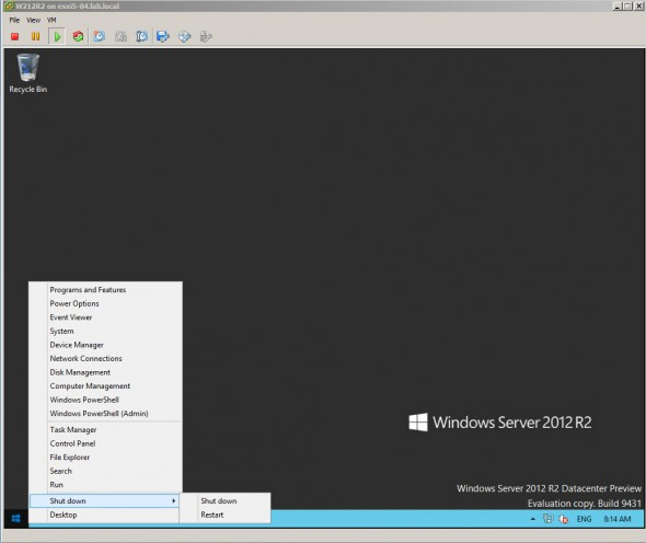 Windows Server 2012 R2 - Start menu accessible with right click