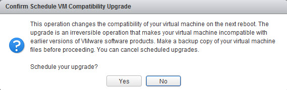 Scheduled virtual hardware compatibility upgrade