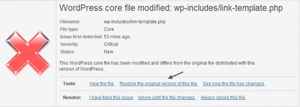 WordFence Security Plugin - restore original WP core file