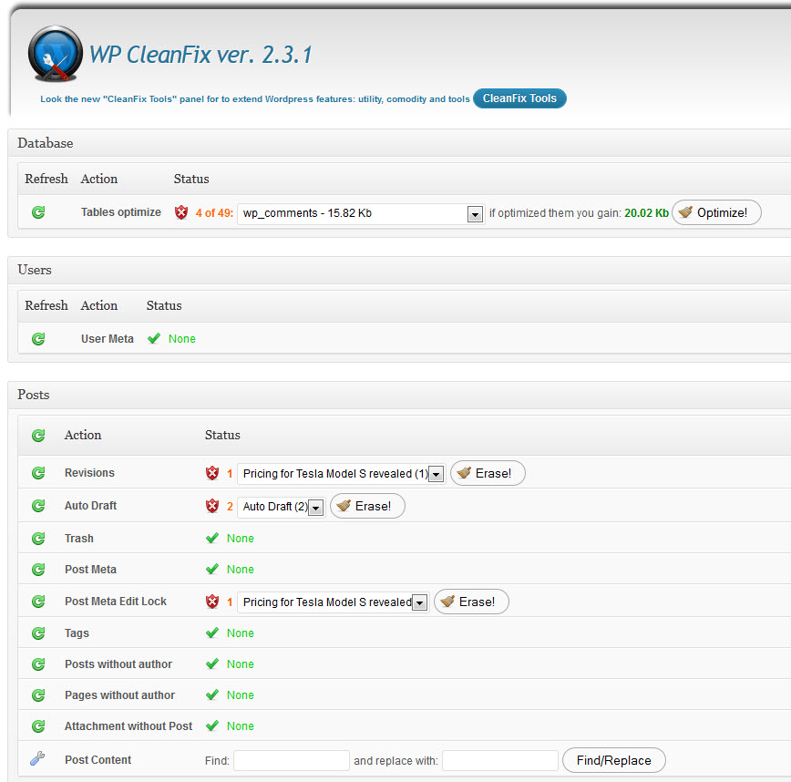WP CleanFix - Valuable free tool for WordPress bloggers to o