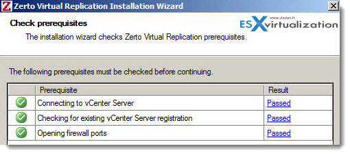 Zerto Installation - prerequisites