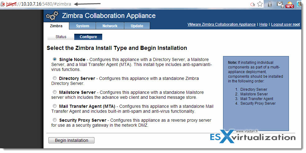 Zimbra Collaboration Suite 8 - deployment of virtual appliance, look